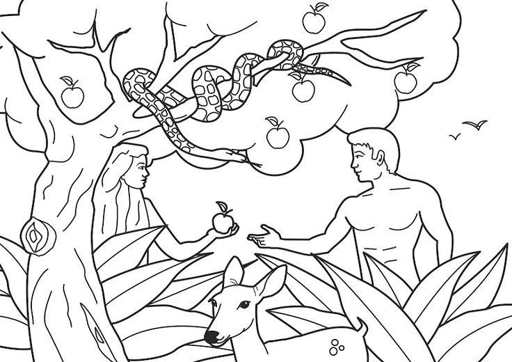 Adam And Eve Coloring Pages Plucking The Apple