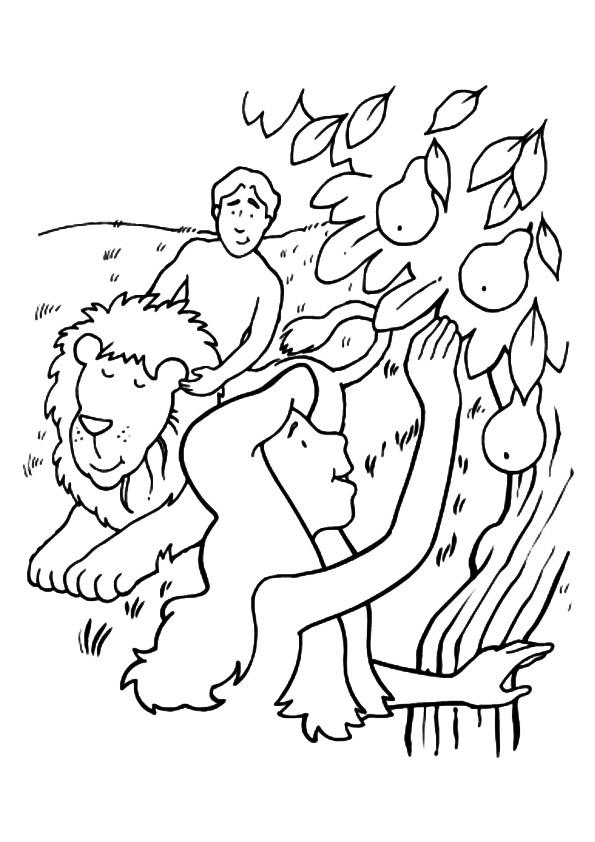 Adam And Eve Coloring Pages Plucking The Forbidden Apple