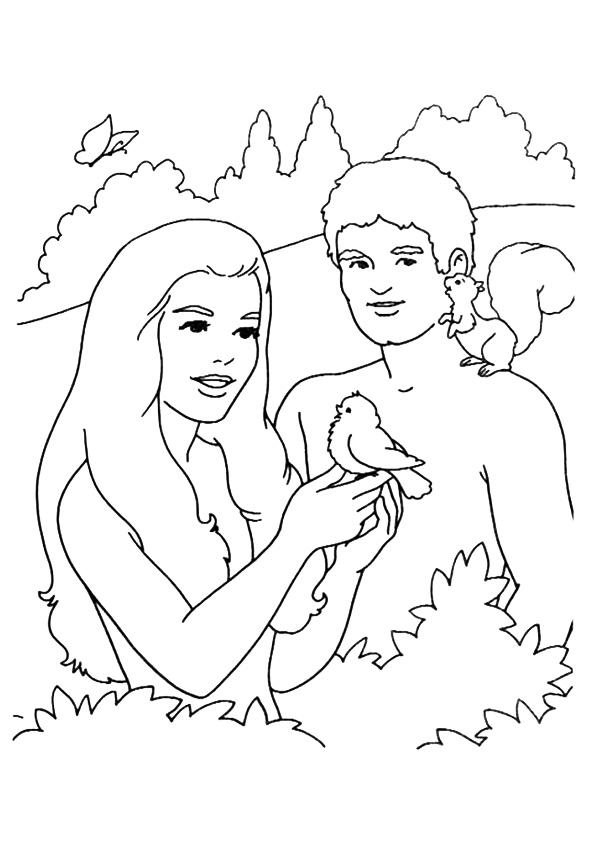 Adam And Eve Coloring Pages With Animals