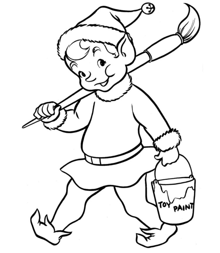 Adorable Christmas Elf Coloring Pages