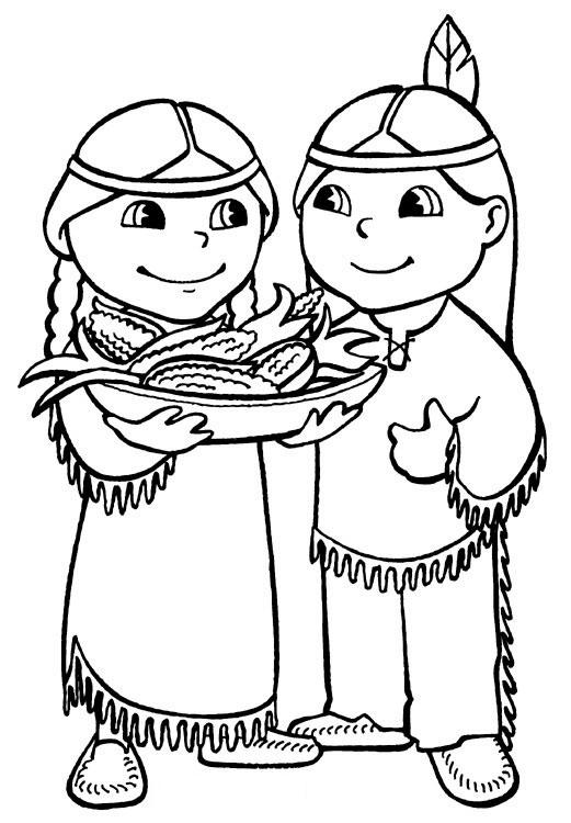 Adorable Thanksgiving Coloring Pages Of Indians