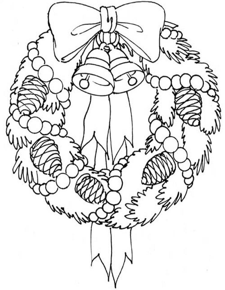 Adorable Wreath Free Coloring Pages For Christmas
