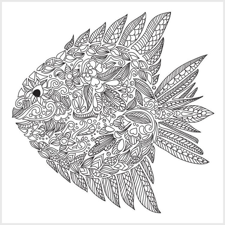 Adult Coloring Pages Fish Pattern
