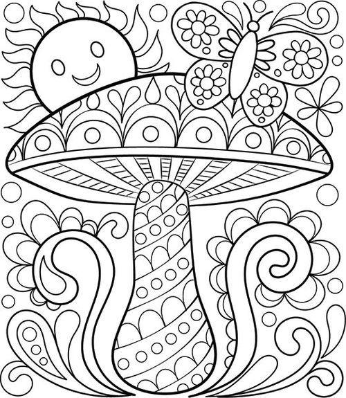 Adult Coloring Pages Mushroom Sun Butterfly