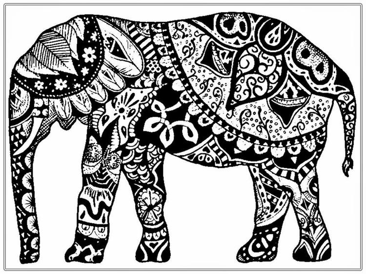Adult Coloring Pages Printable Elephant 3