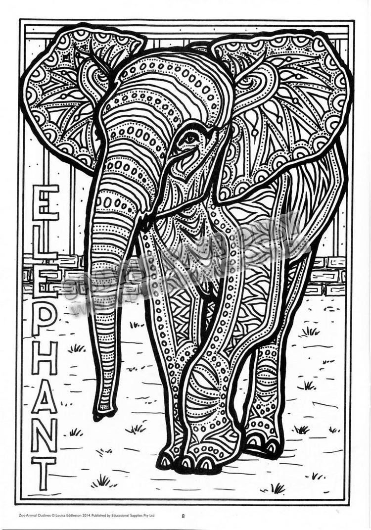 Adult Coloring Pages Printable Elephant Free 6