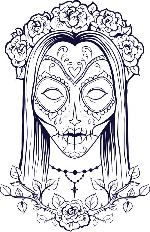 Adult Coloring Pages Sugar Skull Girl