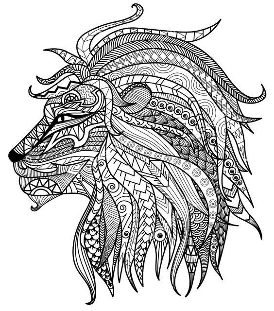 Advanced Coloring Pages Lion Head