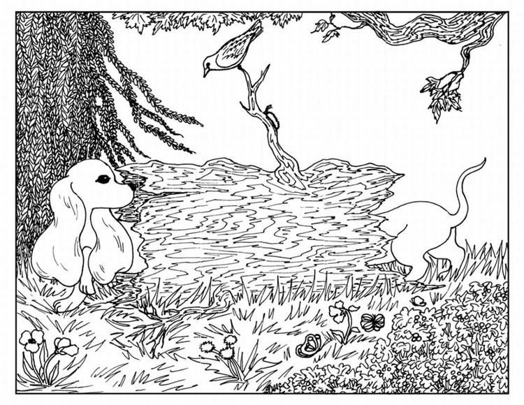 Advanced Coloring Pages Of Nature And Dog