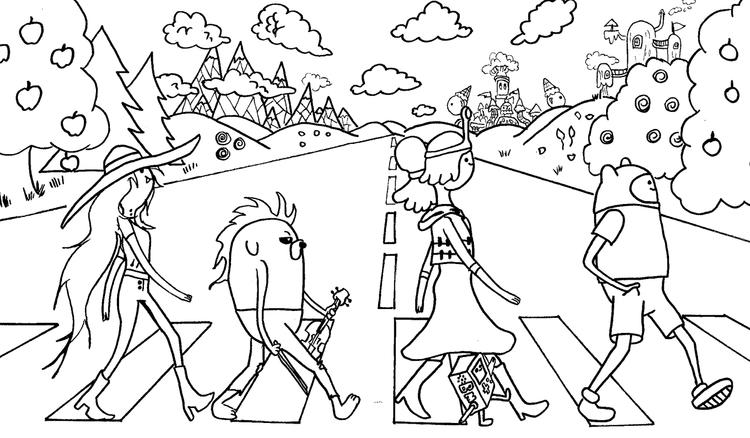 Adventure Time Coloring Pages The Beatles