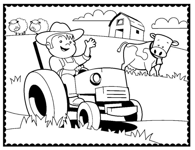 Agriculture Machinery And Farmer Coloring Page