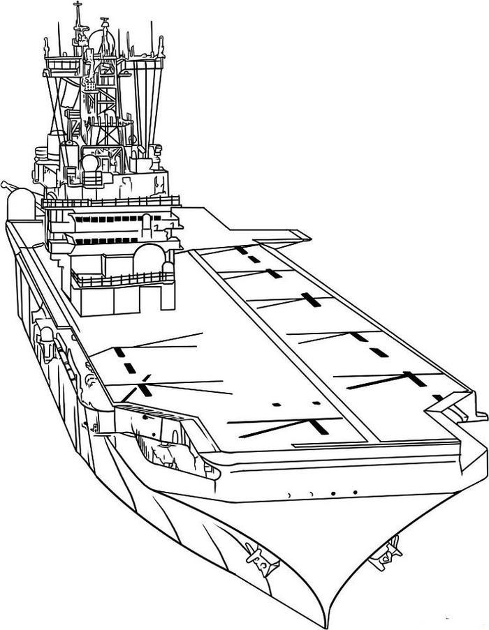 Aircraft Carrier Ship Coloring Pages