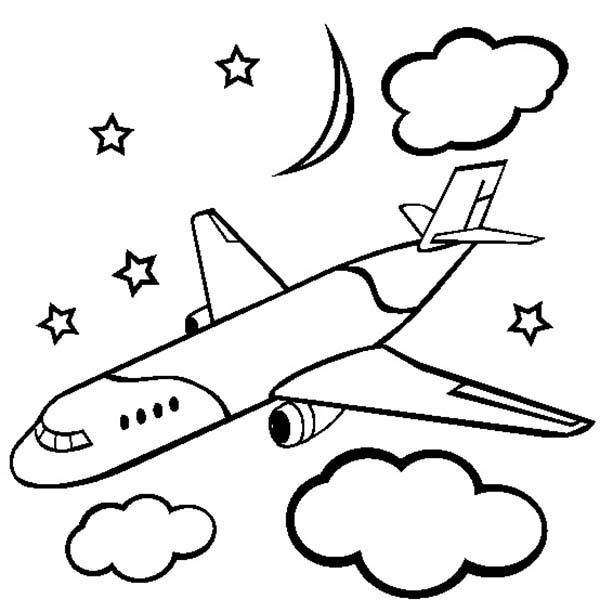 Airplane Coloring Pages Flying At Night