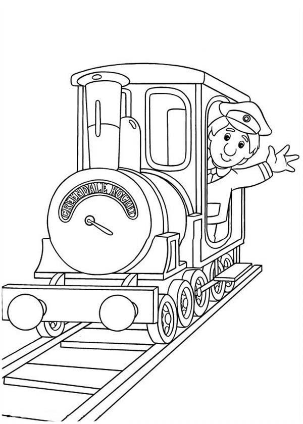 Ajay Bains On A Locomotive In Postman Pat Coloring Pages