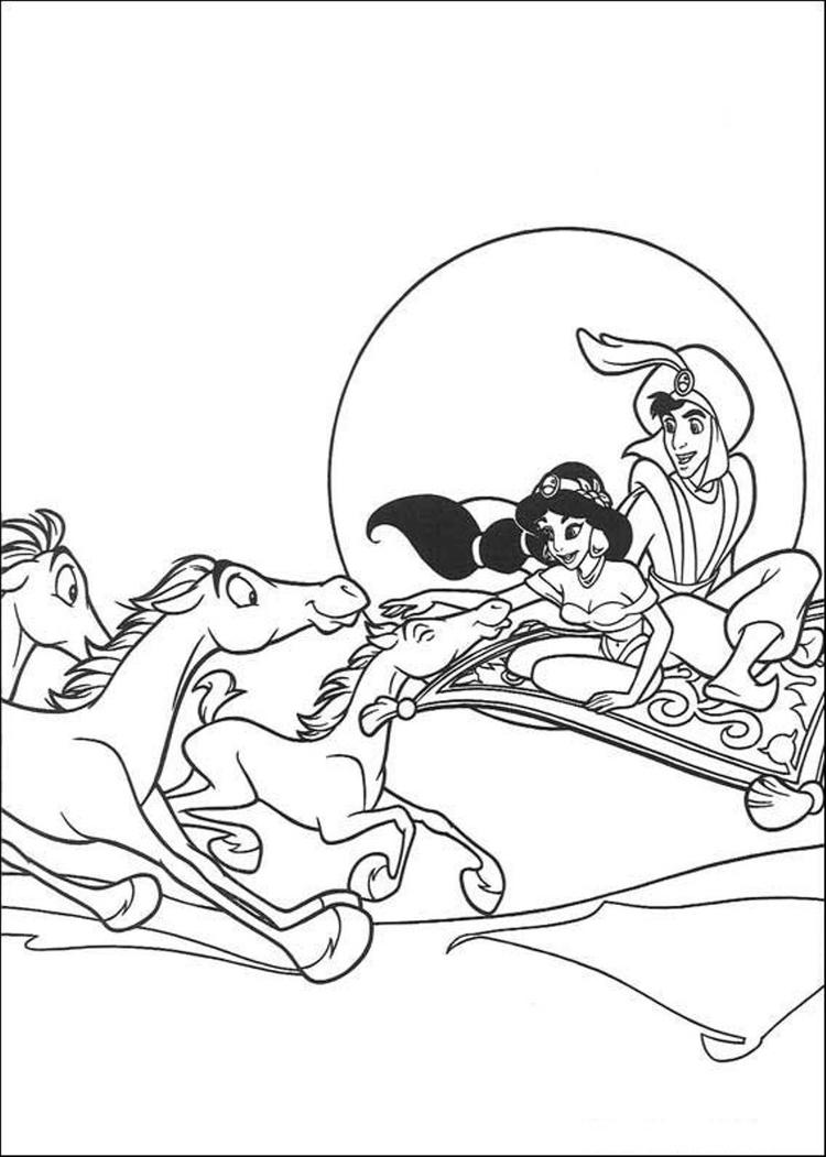 Aladdin Coloring Pages Flying With Horses