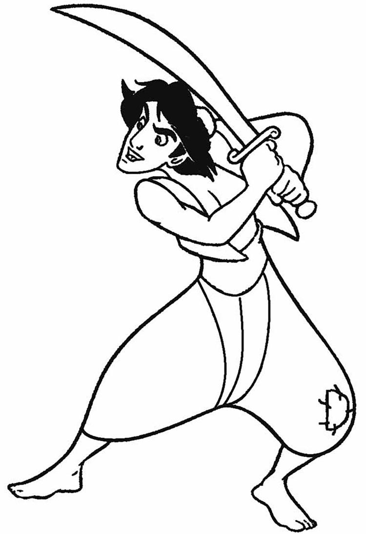 Aladdin Coloring Pages Holding Sword