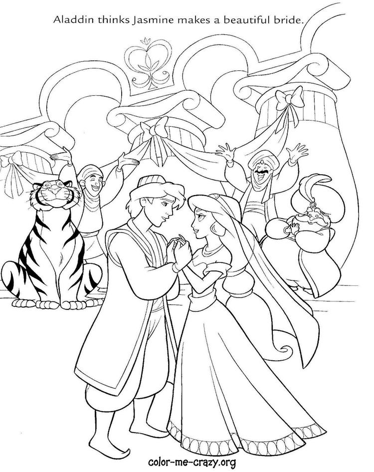 Aladdin Disney Wedding Coloring Pages