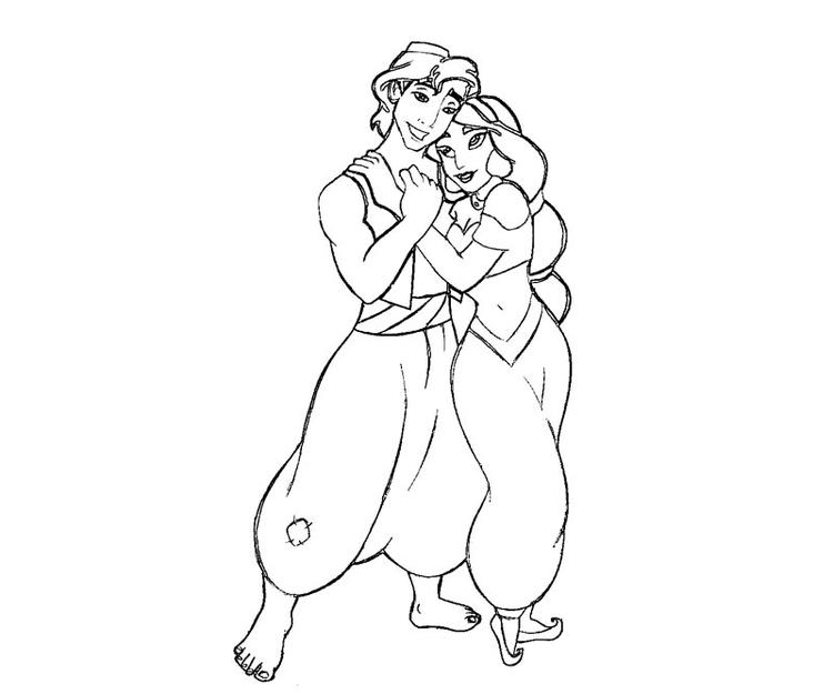 Aladdin Loves Jasmine Coloring Pages