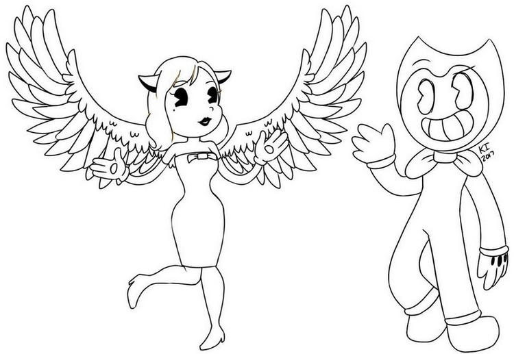Alice Angel And Bendy Coloring Page