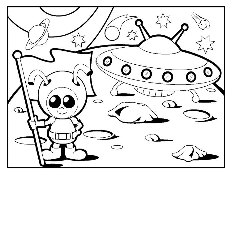 Alien Coloring Pages On The Moon