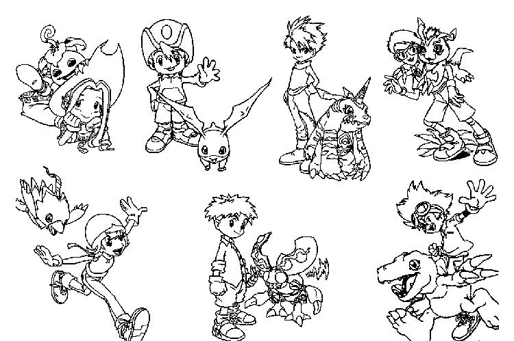 All Characters Digimon Coloring Pages