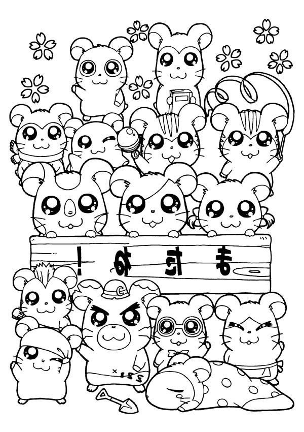 All Hamtaro Characters Coloring Pages