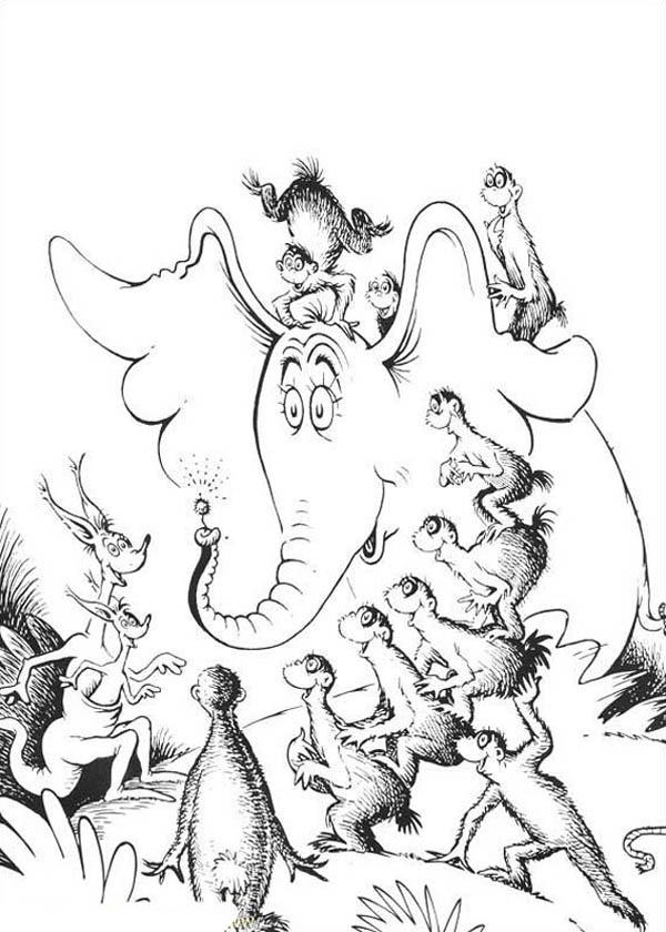All Horton Hears A Who Chracters Amazed By Horton Flower Coloring Pages