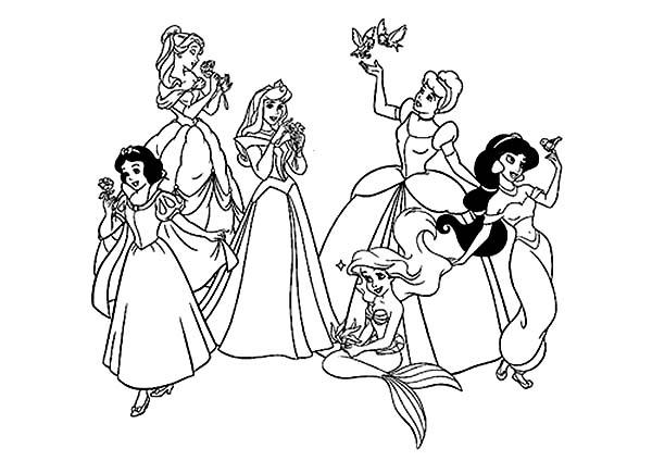 All The Princesses Colouring Pages