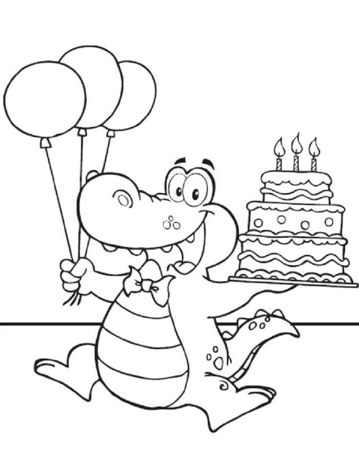 Alligator And Birthday Cake Coloring Pages