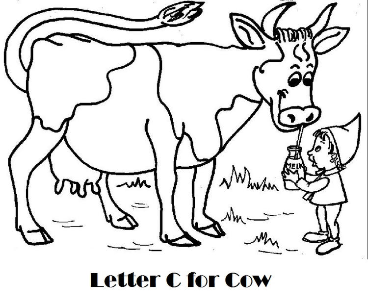 Alphabet C For Cow Coloring Page