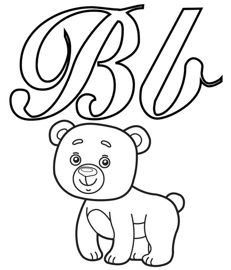 Alphabet Coloring Letter B For Bear Coloring Page