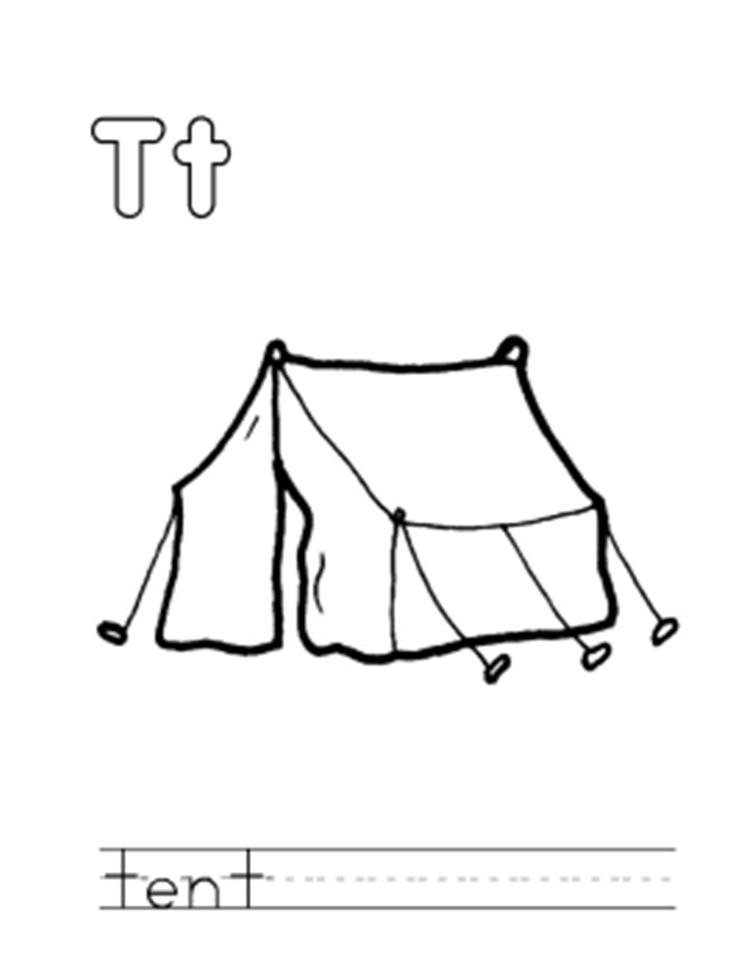 Alphabet Coloring Page A Tent