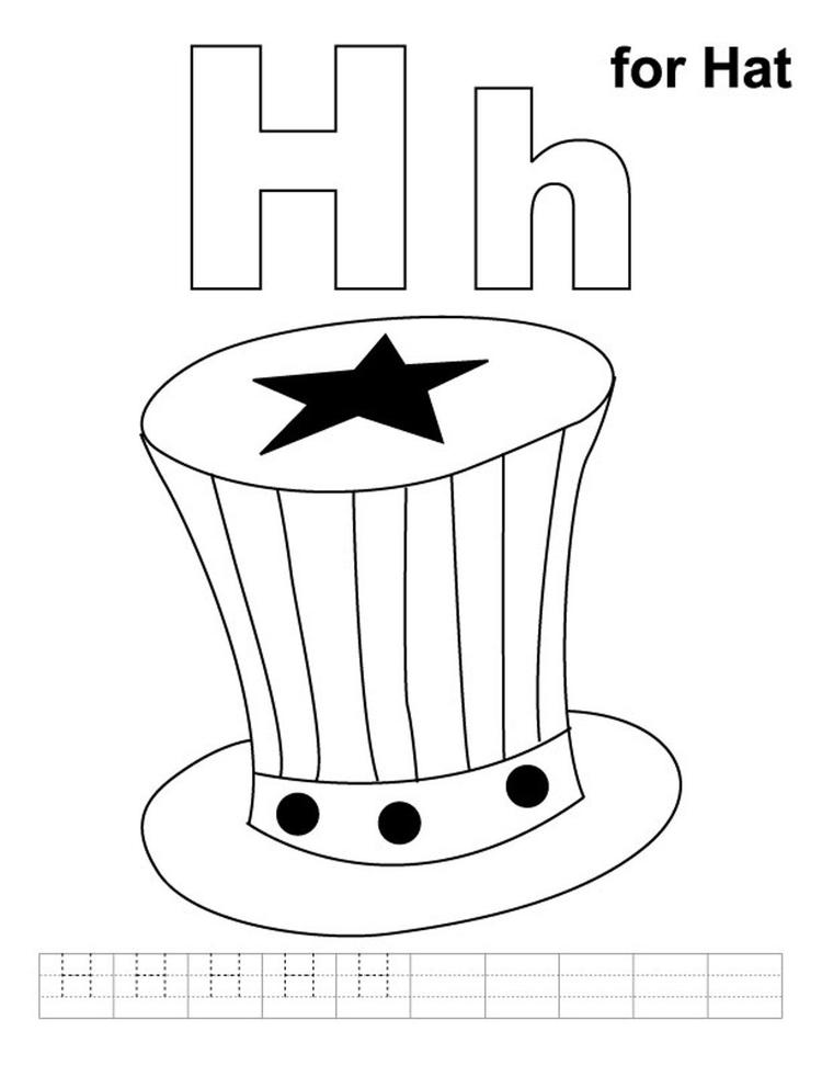 Alphabet Coloring Page H For Hat