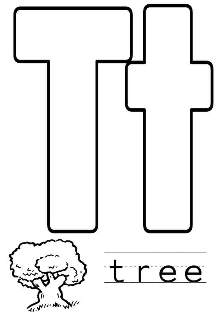 Alphabet Coloring Page Tree