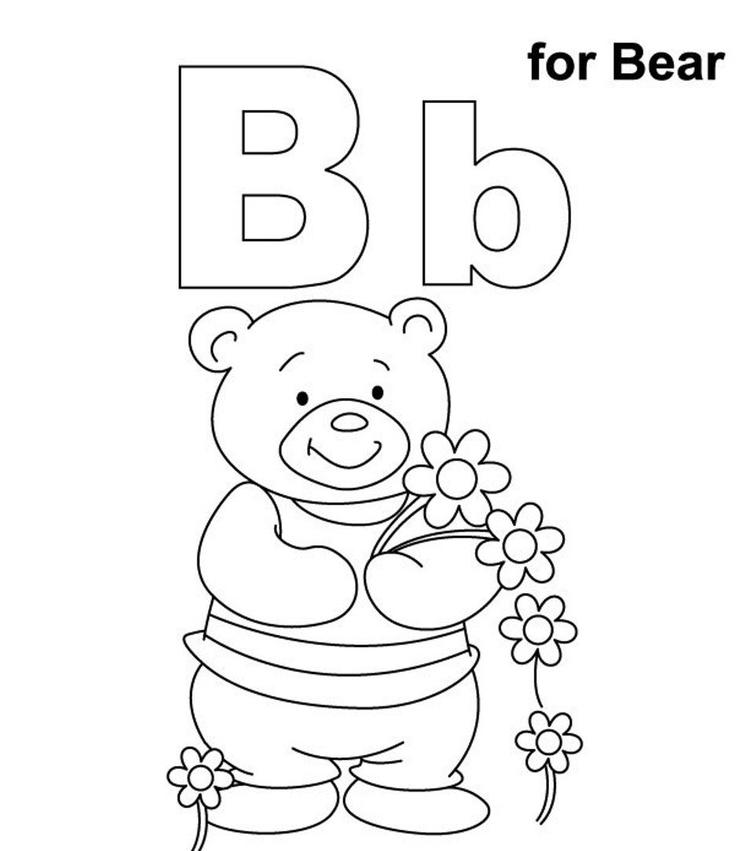 Alphabet Coloring Pages B For Bear