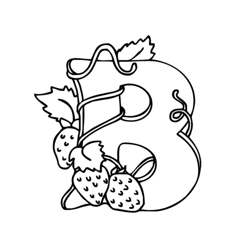 Alphabet Coloring Pages B For Berries