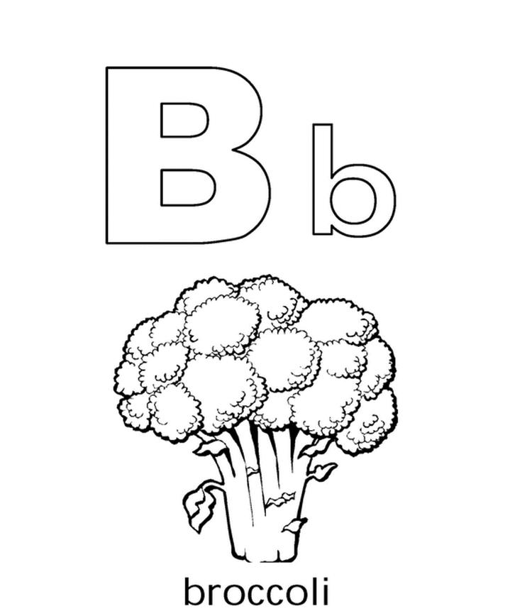 Alphabet Coloring Pages B For Brocoli