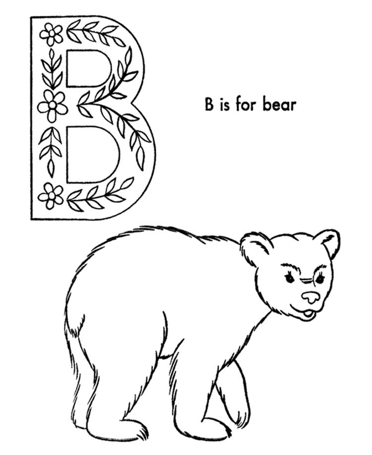 Alphabet Coloring Pages B Is Fo Bear