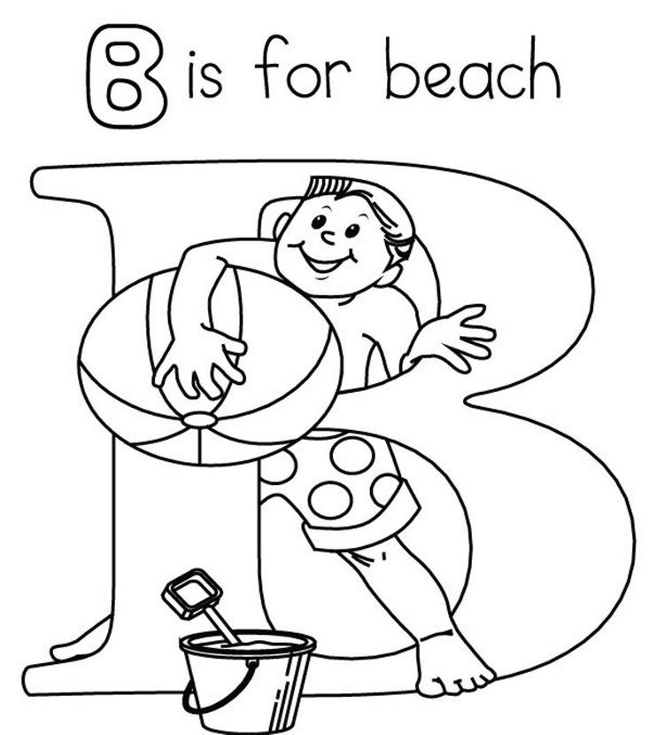 Alphabet Coloring Pages B Is For Beach