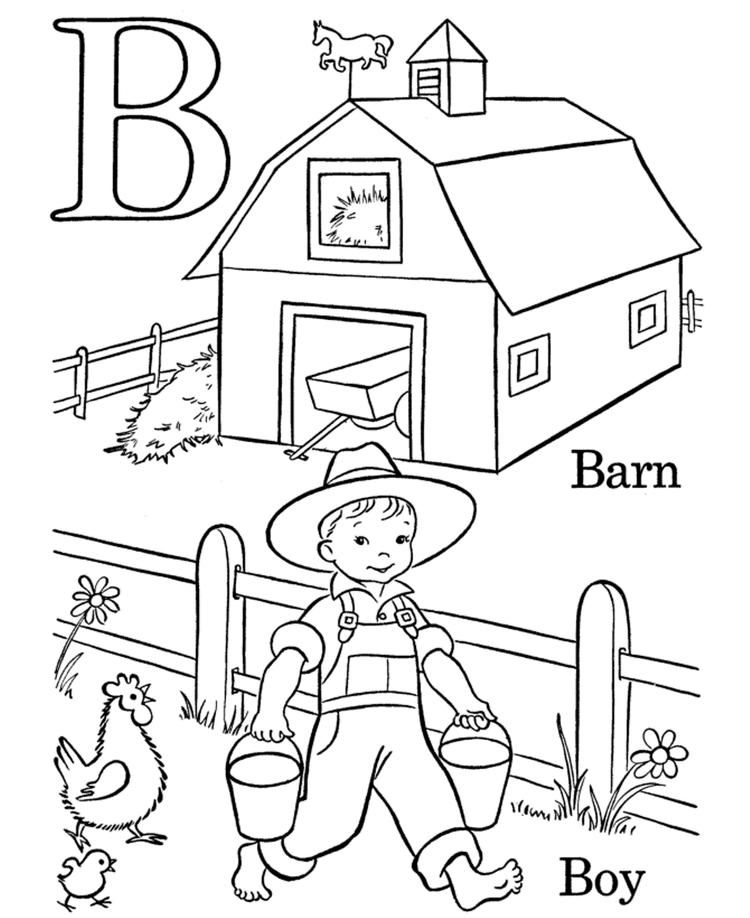 Alphabet Coloring Pages Boy And Barn