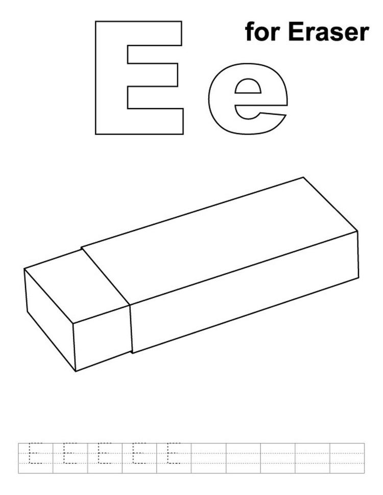 Alphabet Coloring Pages Free E For Eraser