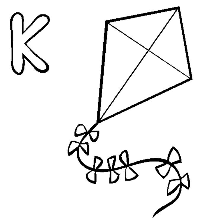 Alphabet Coloring Pages Free Kite