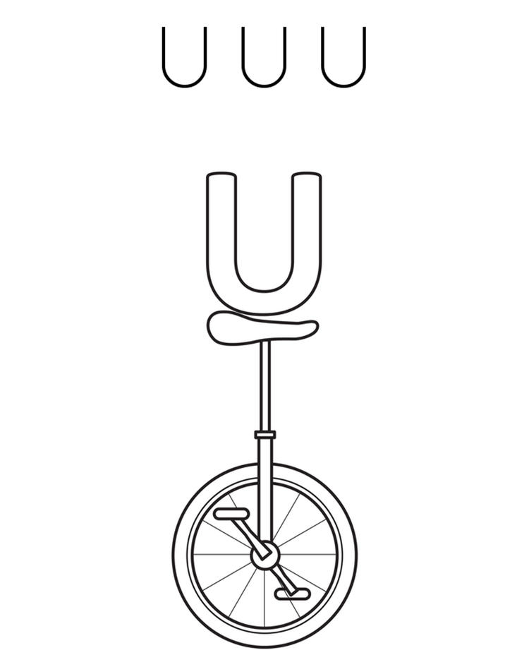 Alphabet Coloring Pages Free Unicycle