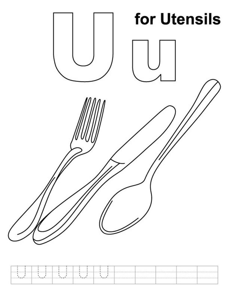 Alphabet Coloring Pages Free Utensils