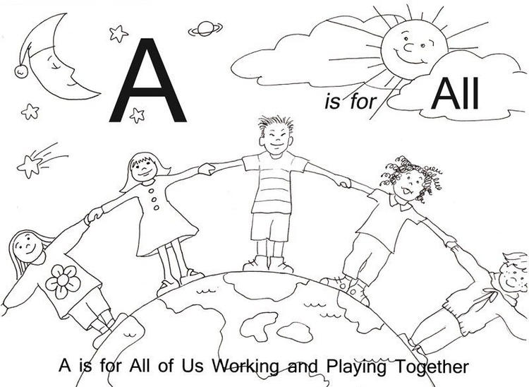 Alphabet Coloring Pages Printable A Is For All