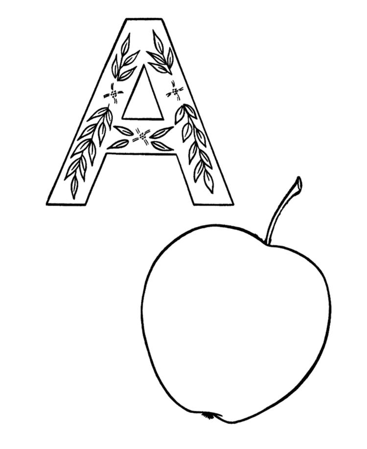 Alphabet Coloring Pages Printable Apple A Printable