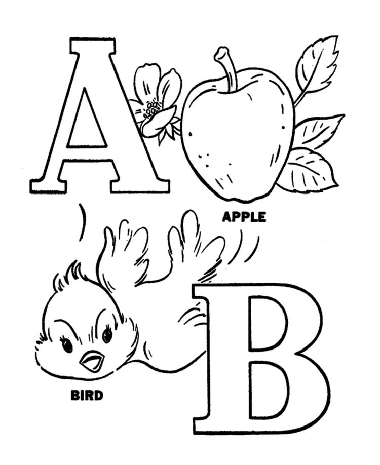 Alphabet Coloring Pages Printable Apple And Bird