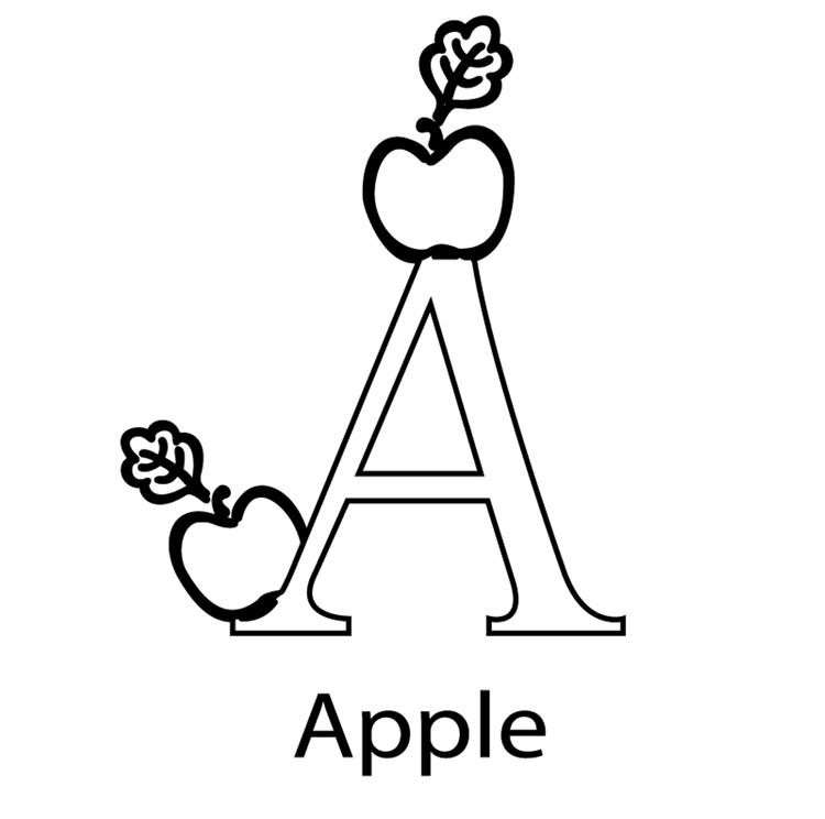 Alphabet Coloring Pages Printable Apple