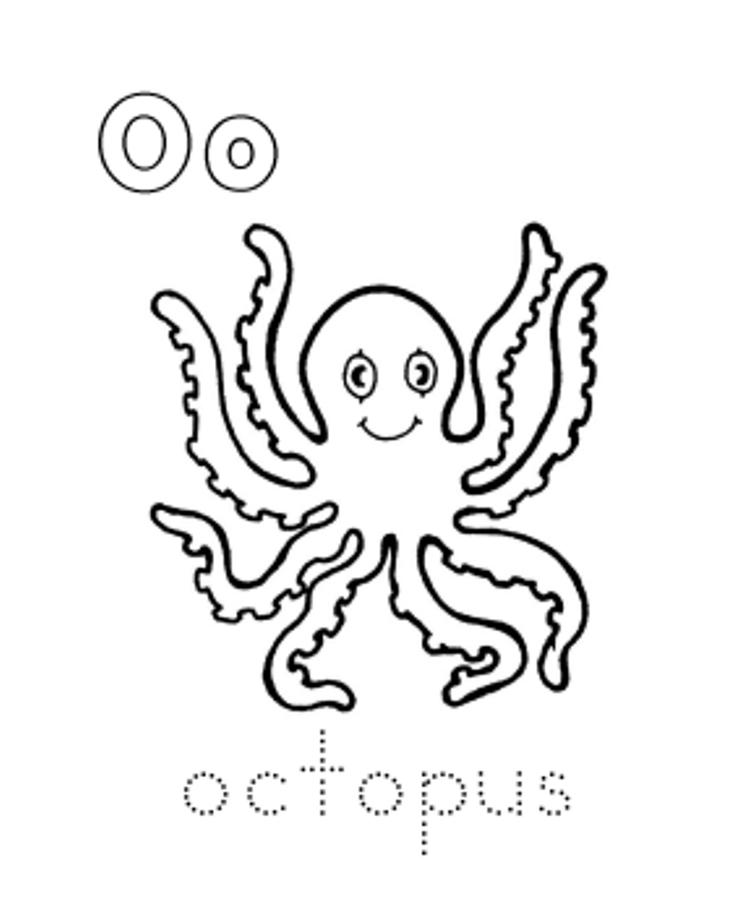 Alphabet Coloring Pages Sea Animal Octopus