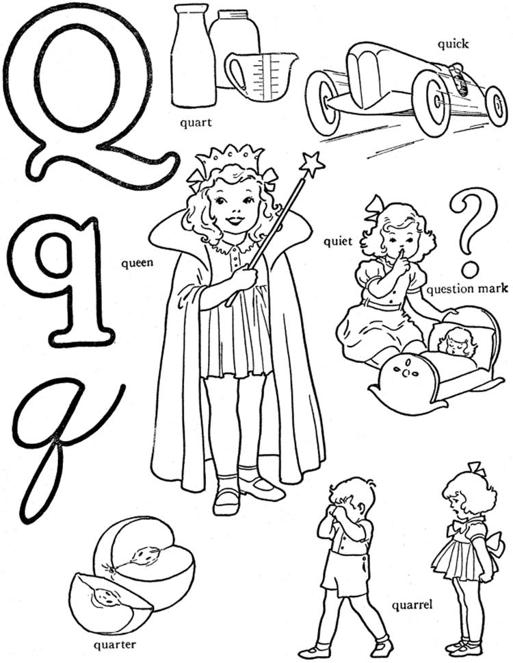 Alphabet Coloring Pages Words For Q